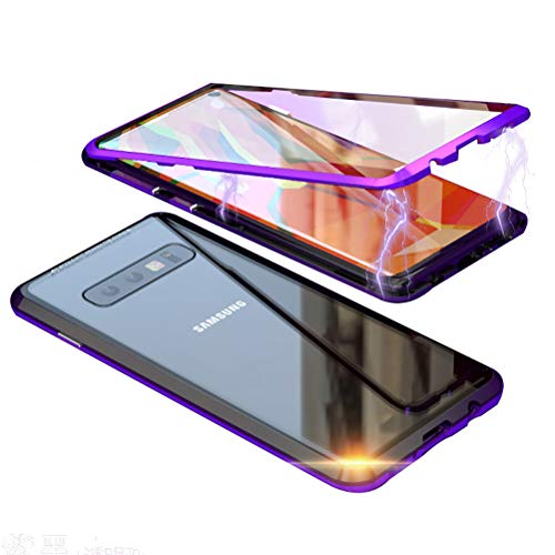 Laak Compatible with Samsung Galaxy S10 Plus Case, Double-Sided Glass Magnetic Adsorption Metal Frame Tempered Cover Support Wireless Charging 360° Full Body Case (Black+Purple)