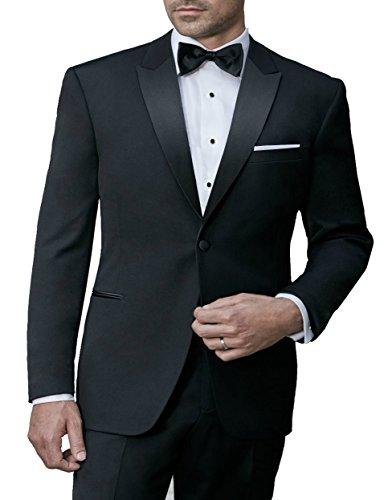 Ike Behar S120's Luxury Wool Fabric 1B Peak Slim Fit Tuxedo (Black Peak Tuxedo)