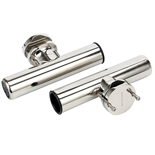 (Amarine-made (2X Stainless Rail Mount Clamp on Fishing Rod Holder for Rails 1-1/4