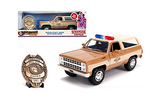 New DIECAST Toys CAR JADA 1:24 W/B - Metals - Hollywood Rides - Stranger Things - HOPPER'S 1980 Chevrolet Blazer with Police Badge 31111