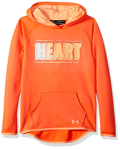 Under Armour Girls Armour Fleece Heart Verbiage Hoodie, After Burn (878)/Peach Horizon, Youth X-Large (Christmas Verbiage)
