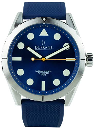 Barton Springs 656 Automatic 42mm Dive Watch for Men by Luxury Brand DuFrane Watches. Stainless Steel with Fine Polished Accents. Durable, Capable & Stylish. Can be Worn Well Both Formal and Casual.