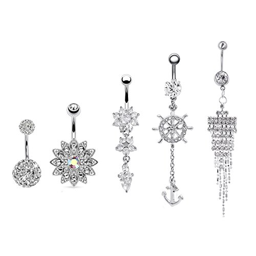 Shoopic 5 PCS Crystal Body Piercing Belly Button Rings Dangle Flower Anchor Navel Earrings Jewelry Set Silver for ()