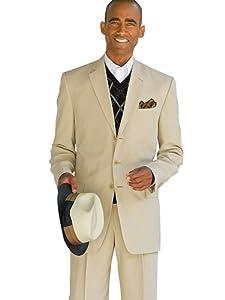 B00HV3J4HE Paul Fredrick Men's Silk/Linen Three-Button Notch Lapel Suit Tan 40 Long/34w