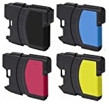 4 Pack (1 Black + 1 each color) Non-OEM Ink Cartridge for LC61 Brother (15.5mL Each Cartridge) DCP 165C MFC 250C 255CW 290C 295CN 385CW 490CW 585CW 790CW 5490CW 5890CW 6490CW, Office Central