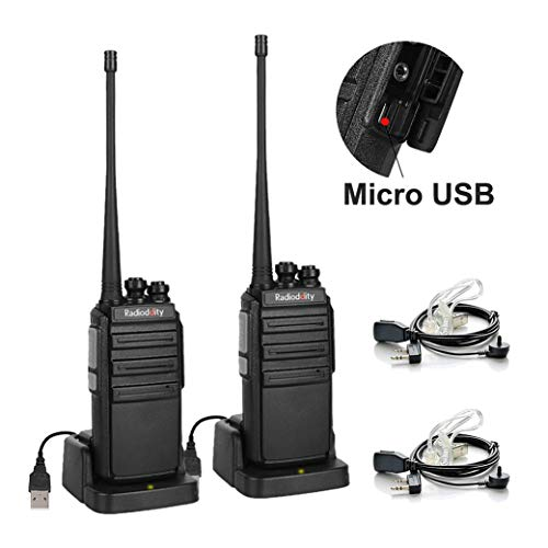 Radioddity GA-2S UHF Two Way Radio 16CH Rechargeable VOX Long Range Walkie Talkies Micro USB Charing + USB Desktop Charger + 2 Pin Air Acoustic Earpiece, 2 Pack by Radioddity