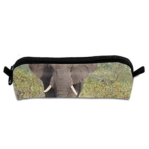 EQAZV Kenya Elephant Students Canvas Pencil Case Pen Bag Pouch Stationary Case