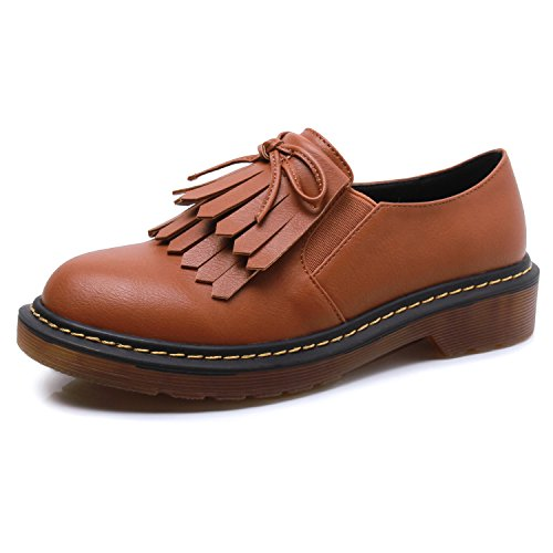 Smilun Girl¡¯s Derby Classic Lace-up Shoes Smooth Leather Flats Smooth Leather Office Business Dress Shoes for Girl Brown Size 6 B(M) US by Smilun (Image #1)