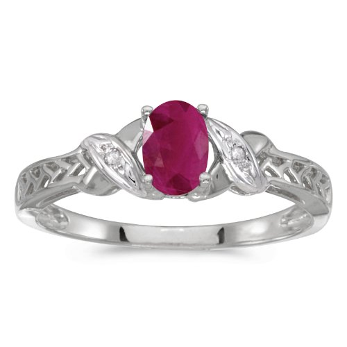 0.37 Carat ctw 10k Gold Oval Red Ruby & Diamond Crossover Infinity Antique Promise Fashion Ring - White-gold, Size 10.5 ()