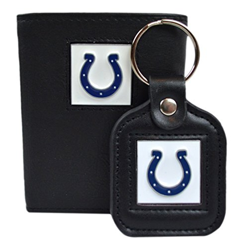 Official National Football League Fan Shop Authentic Genuine Leather NFL Trifold Wallet and Key Chain Bundled Set (Indianapolis Colts)