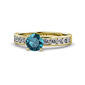 London Blue Topaz and Diamond (SI2-I1, G-H) Engagement Ring 1.95 Carat tw in 14K Yellow Gold.size 7.25