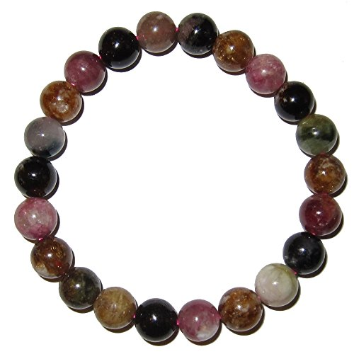 Tourmaline Bracelet Rainbow 09 mm Stretch Genuine Crystal Pink Gold Black Total Chakra Balancing Stone (Gift Box) (6.5 Inches)