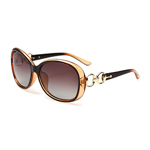 UVB la Marrón Marrón Gafas Frame Moda de Mujer Gafas UVA Resina Resolución Color Shade Sol Lente Visual Polarized de Decoration Classic de Alta Bz1BT
