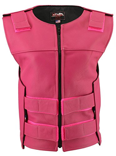Hillside USA Womens Made In USA Zippered Bullet Proof Tactical Style Leather Motorcycle Vest All Colors Tall Size Hot Pink by Hillside USA