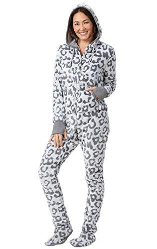 PajamaGram Onesie for Women Soft - Fleece Womens Footed Pajamas, Gray, S, -