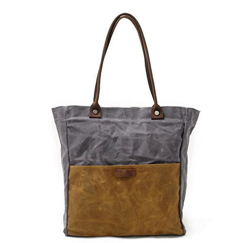 (Peacechaos Women's Canvas Waterproof Shoulder Hand Bag Tote Bag (Grey-Khaki))