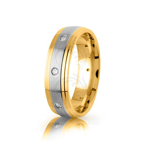 0.16 Carat Two Tone 14k Yellow white yellow Gold Round Diamond Wedding Ring 6.5mm