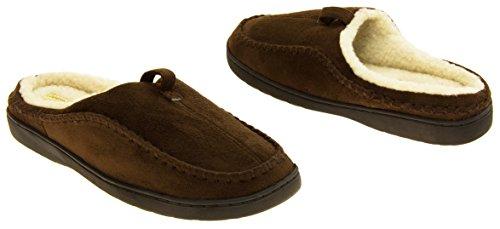 Herren-Kühler Faux-Veloursleder-Wolle-Effekt aufgefüllte Maultier-Hausschuhe Braun