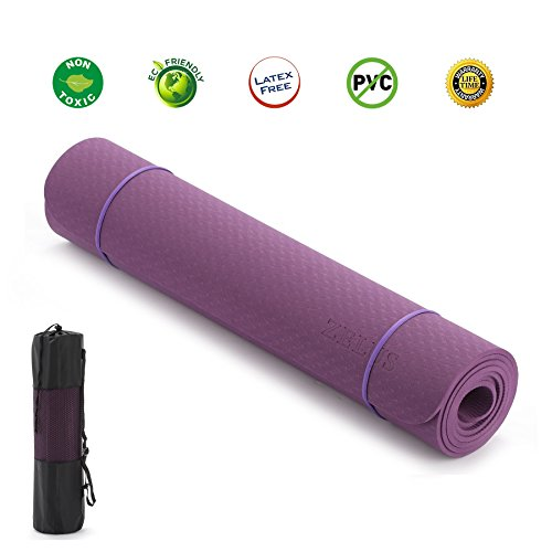 "ZELUS TPE Material Yoga Mat 72"" x 24"" 1/4"" thickness, Eco Friendly Textured Non Slip Surface and Optimal Cushioning (Dark purple) Review"