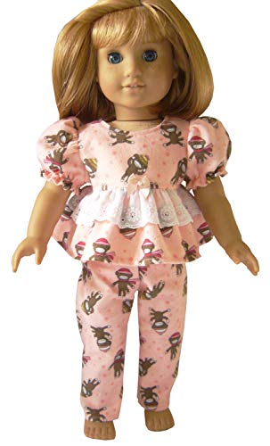 Doll Clothes Sew Beautiful for 18 inch American Girl Peach Colored Sock Monkey 2 Piece Pajamas Set ()