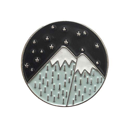 (Yinpinxinmao Mountain Moon Star Enamel Round Brooch Pin Badge Clothes Backpack Coat Scarf Decor 2#)