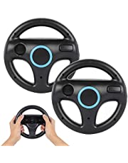 Steering Wheel for Wii Controller, PowerLead 2 pcs Racing Wheel Compatible with Mario Kart, Game Controller Wheel for Nintendo Wii Remote Game(Black)