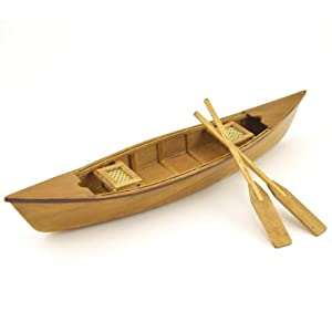 Wood Crafted Canoe Model Photocopy Collectible, 10.5-inch, Nautical Decor, Natural