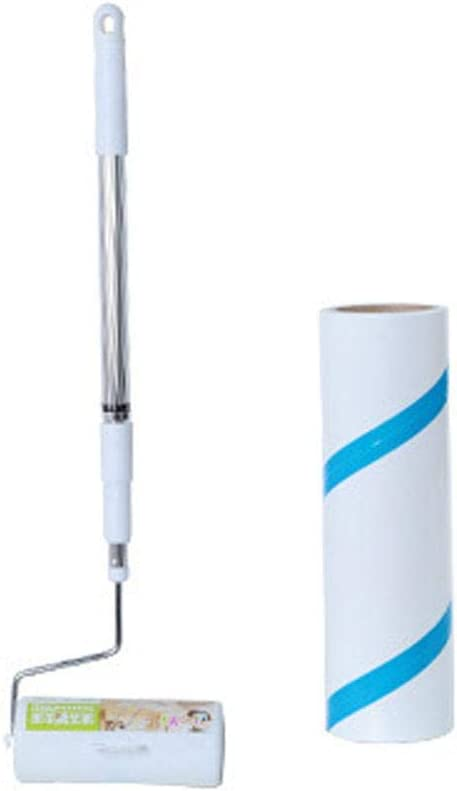 Cepillo de rodillo para depilación tipo vadoxila, rodillo para el cabello, herramienta antipolvo, pelusa, desgarro prolongado, se puede limpiar y retráctil, blanco