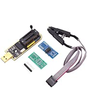 Ajzar USB Programmer CH341A EEPROM BIOS Flasher Programmable Logic Circuits with SOP8 Flash Clip Suitable for 24/25 Series Chip