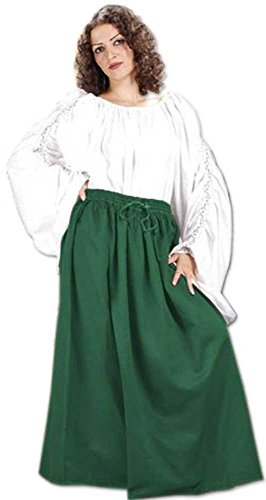 Medieval Renaissance Pirate Eleanor Cotton Skirt Costume [Green] (Eleanor Cotton Skirt)