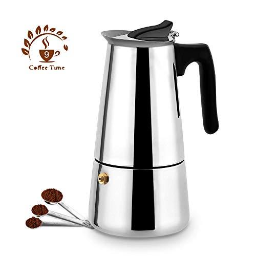 Stovetop Espresso Maker Moka Pot, 9 Cup Italian Espresso Coffee Maker, Stainless Steel Espresso Maker Machine For Full Bodied Coffee