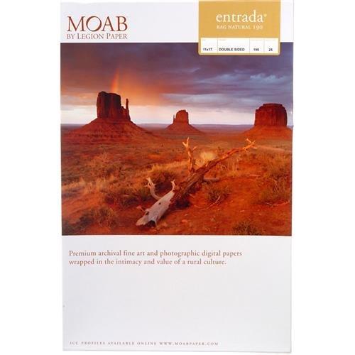 Entrada Fine Art Natural - Moab Entrada Rag Rag Fine Art, 2-Side Natural Matte Inkjet Paper, 15.5 mil., 190gsm, 11x17