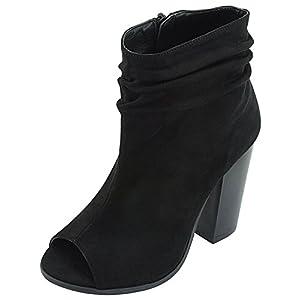 251f1c372d14 Bella Marie Women's Peep Toe Slouch Chunky Stacked Block Heel Ankle Bootie