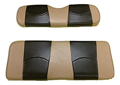 Kool Cushions EZGOTXT-TTBKST-01 -Custom Vinyl Golf Cart Seat Covers Front Only-Totally Tan With Black Stripe - For EZ_GO TXT Golf Cart