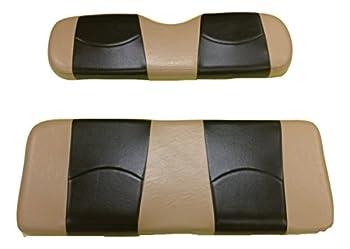 Kool Cushions EZGOTXT-TTBKSTFLIP-01-Custom Vinyl Golf Cart Seat Covers Front and Rear with Flip Seat-Totally Tan with Black Stripe - For EZ-GO TXT Golf Cart