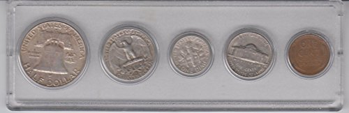 1958 Birth Year Coin Set (5) Coins - Half dollar, Quarter, Dime, Nickel, and Cent All Dated 1958 and Encased in Plastic Display Case Fine