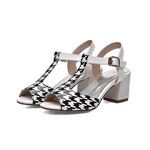 Colore Sandali Fibbia Per Bianco Donna Toe Open Con Assortiti Voguezone009 aXOdqa