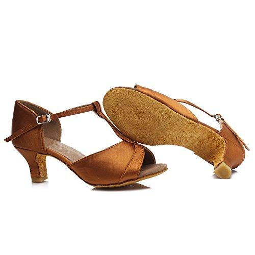 Mujer de Lentejuelas Zapatos de 5cm Zapatos Marrón ES Ballroom 259 SWDZM latino baile de estándar baile modelo Tacón HqxAd