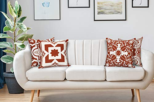 Light & Pro Square Printed Cotton Cushion Cover,Throw Pillow Case, Outdoor Cushion Covers,Slipover Pillowslip for Home, Sofa, Couch,Bed, Chair Back Seat, Set of 4-18x18 inch - Rust - Only Cover - VALUE PACK:Each pillow cover size is 18x18 inch/45x45cm (0.5-1cm deviation). Package contains only Pillow Cover and no inserts included. STYLE : Four different patterns make the entire pillow cover full of fashion and illuminate your home. CONSTRUCTION : The pattern of the cushion covers same on both side. The invisible zipper is easy to placement and removal. - patio, outdoor-throw-pillows, outdoor-decor - 419RF8etjAL -