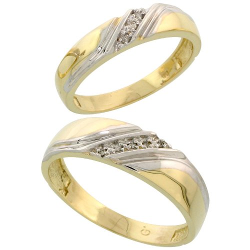 Gold Plated Sterling Silver Diamond 2 Piece Wedding Ring Set His 6mm & Hers 4.5mm, Ladies Size 8.5 by Silver City Jewelry