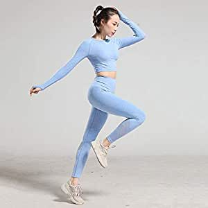 Beiziml Seamless Workout Clothes Women's Tracksuit Fitness Sportswear High Waist Gym Leggings Long Sleeve Crop Top 2 Pcs Yoga Set