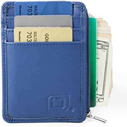 ID STRONGHOLD RFID Front Pocket Wallet Mini Minimalist Wallet Slim Wallet Genuine Leather with Zipper