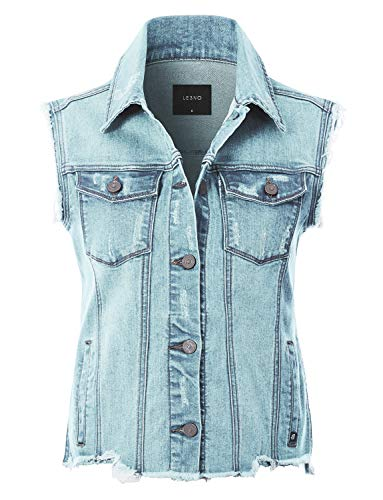 LE3NO Womens Basic Distressed Frayed Sleeveless Button Up Denim Vest with Welt Pockets, Light, X-Large