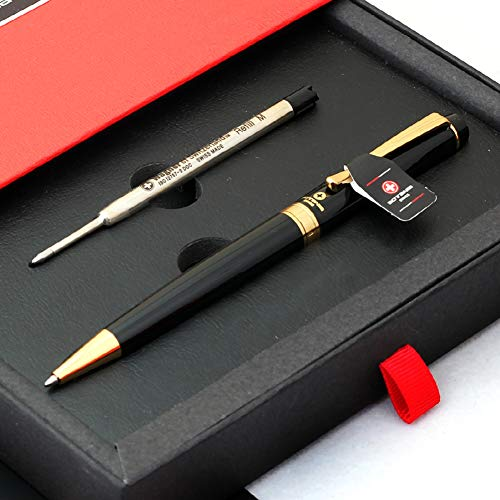 (Free Engraving - Sotania Swiss, Expert Black Roller Ballpen, Ballpoint pen, Ball pen, Medium Point, Refillable Pen, Free Customization Gifts for Men, Women)