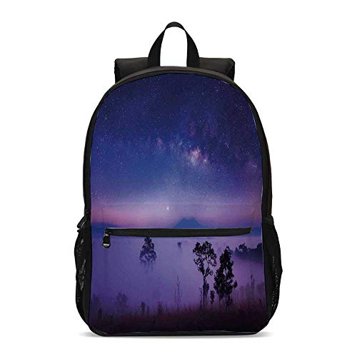 Space Durable Backpack,Milk Way Starry Night in a National Park Thailand Mystical Forest Scenery Picture for School Travel,12.2