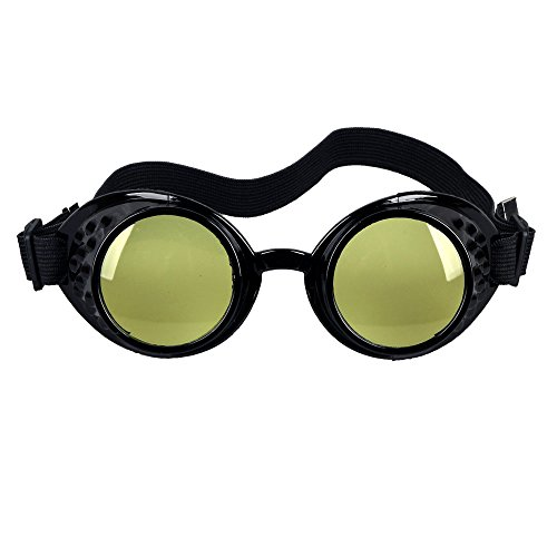 OMG_Shop Vintage Victorian Steampunk Welding Cyber Punk Gothic Cosplay HS Goggles Glass Black Frame (Yellow Lens)
