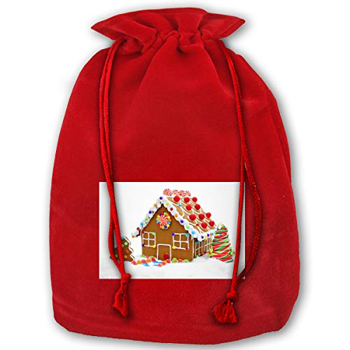 (LOUXIO Christmas Clipart Gingerbread House Christmas Drawstring Gift Bags Santa Storage Sack Backpack for Party Favors Candy Delicate)