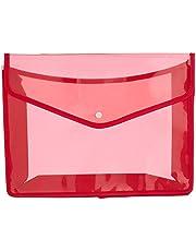 حافظة اوراق بلاستيك شكل ظرف B3 شفافة بزر قفل وجوانب قماش - احمر