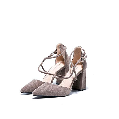 heels High Ash Heeled Wind Autumn Mouth High Shoes Bean Gentle Bridesmaid Sand Single Shallow Pointed Shoes Female Yukun Girl Wild With xwRFqwd5
