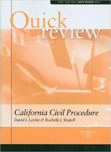 Book Sum and Substance Quick Review on California Civil Procedure by David I. Levine (2008-08-22)